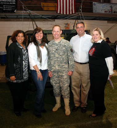 Union County Kicked off the Support for Soldiers Campaign this past Wednesday, March 19 at the Westfield Armory in Westfield. Chosen by popular vote, and created at the UC STEP Summit, Support 4 Soldiers endeavors to unite schools from across Union County to collect supplies for care packages for active military personnel overseas and at home. Pictured (from left) are Freeholder Linda Carter, Danielle Bracco - executive director, Bonds of Courage, Lieutenant Colonel Bill Morris - executive officer and Brigade Full Time Officer In Charge, Freeholder Alexander Mirabella, Amy Wagner - deputy director, Union County Department of Economic Development.