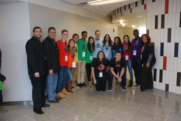Union County Freeholders Sergio Granados (left), Alexander Mirabella (2nd left) and Freeholder Chairman Linda Carter (right) with event staff members Micayla (front left) and Alex Mirabella (front right) and students from the Academy for Information Technology at the closing of the UC STEP program on Friday, December 13th at Kean University's STEM Building. One of Chairman Carter's initiatives, the UC STEP program brought together 192 sophomores and juniors from 26 schools around Union County, and featured a day focused on fostering leadership and communication skills as well as personal growth through civic engagement.