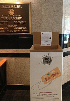 One of our Support 4 Soldiers collection boxes location at the Union County Administration building